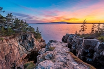 Schoodic Peninsula Maine  months of visiting these cliffs and finally caught the sunset I wanted