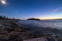 Schoodic Point Maine By Sunset and Moonlight