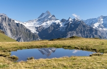 Schreckhorns reflection above grindelwald Switzerland