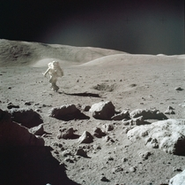Scientist-astronaut Harrison H Schmitt heads for a selected rock on the lunar surface to retrieve the sample for study  Credit Eugene A CernanNASA