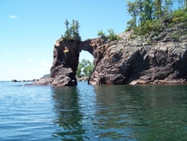 Sea arch in Tettegouche State Park Minnesota It collapsed in