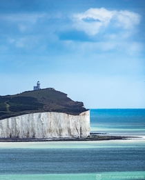 Sea by the Belle Tout lighthouse UK looking like the South of France