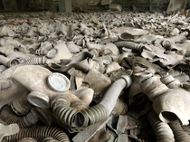 Sea of gas masks Pripyat Chernobyl exclusion zone