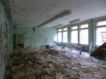 Sea of schoolbooks in Pripyat