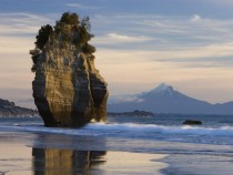 Sea Stack amp Mount Taranaki New Zealand