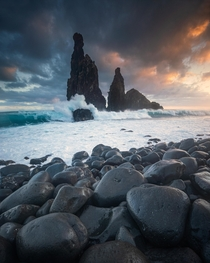 Sea stacks on the island of Madeira Portugal during sunrise