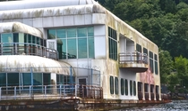 Seaborned II AKA McBarge Port Moody British Columbia Canada Built as a floating restaurant for Expo  it was abandoned on a hard-to-access section of the inlet