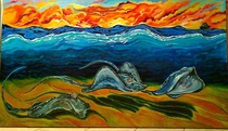 Searay Sunset x feetoil on canvas painting l created for local Tampa area client