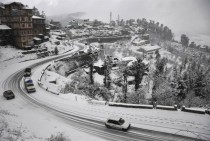 Seasons first snowfall in Shimla India