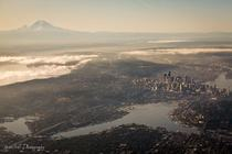 Seattle and Mt Rainier photo by Thatcher Kelley