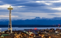 Seattle as night falls