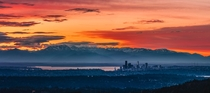 Seattle at sunset with Olympic National Park as a backdrop