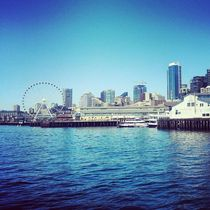 Seattle on a sunny day in June from the ferry