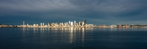 Seattle skyline panorama with reflections