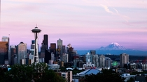 Seattle Sunset with Mount Rainer