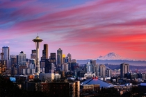 Seattle Washington and Mt Rainier