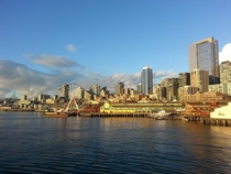Seattle waterfront from a ferry x