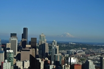 Seattle with Mount Rainier appearing to float in the background Shot from the Space Needle