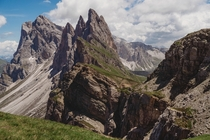 Seceda Mountains forming a natural barrier in the Dolomites Italy
