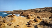 Sedimentary rock formations of Faraklo Beach Limnos Greece