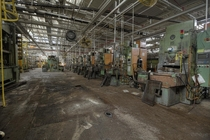 Seemingly Endless Row of Machinery Inside the Former GM Powertrain Plant in St Catharines Ontario