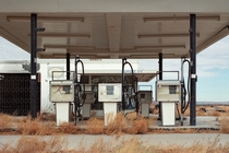 Self serve Abandoned gas station along old route  in the mojave desert Newberry Springs CA  Photo by eyetwist