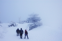 Seolcheon Peak in blizzard Mt Deogyu National Park South Korea