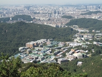 Seoul National University complex with the sprawling city in the background Seoul South Korea
