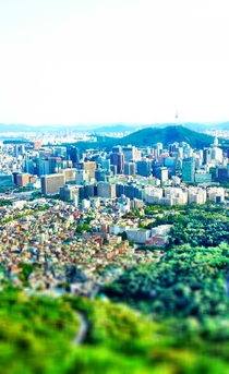 Seoul South Korea Looking south from Bugaksan Tilt-Shift