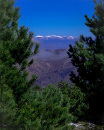 Serra Dolcedorme Mount Sweetly-Sleeps and Mount Pollino view from Mount Bad Stone of the Calabrian coastal Appenines Italy