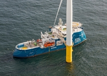 Service Operation Vessel delivering workers to a turbine in the Gemini Offshore Windpark Netherlands