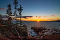 Setting Sun over Schoodic Point Maine