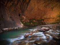 Several images were stacked to get this beautiful bend in The Narrows of Zion