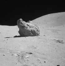 Shadow Rock near North Ray Crater on The Moon  OS