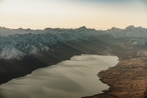 Shadows Cast From The Southern Alps Landing On Lake Pukaki