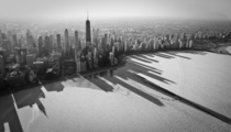 Shadows of Chicago over frozen Lake Michigan USA