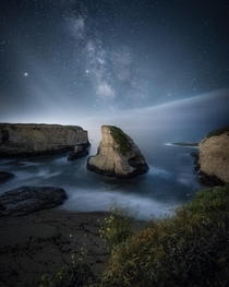 Shark Fin Cove in Davenport California on a starry night  mindzeye