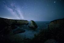 Shark Fin Cove meets Milky Way at Davenport California