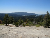 Shaver Lake and a Small Forest Burn Viewed from Bald Mountain California