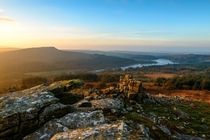 Sheepstor and Burrator Reservoir at sunrise seen from Leather Tor Dartmoor
