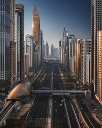 Sheikh Zayed road in Dubai photographed by Sebastien Nagy