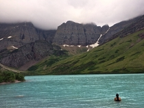 Shes far braver than I for swimming in that freezing water Cracker Lake Glacier National Park