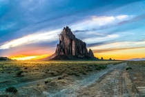 Ship Rock New Mexico Sunset Photographed by Ronald Soo