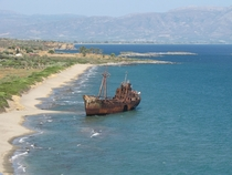 Ship wreck on the coast of greece