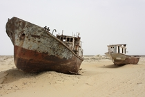 Ships abandoned in the desert that was once the Aral Sea Photo by Arian Zwegers