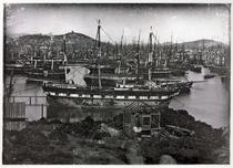 Ships at anchor in Yerba Buena Bay San Francisco abandoned by their crews during the California Gold Rush in