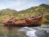 Shipwreck on Morzhovaya Bay in Kamchatka Russia