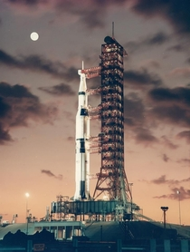 Shoot for the moon - Saturn V rocket on the pad at dawn prior to first launch - November