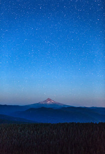 Shooting star above Mt Hood Oregon