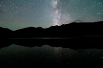 Shooting star over hyalite reservoir Bozeman MT